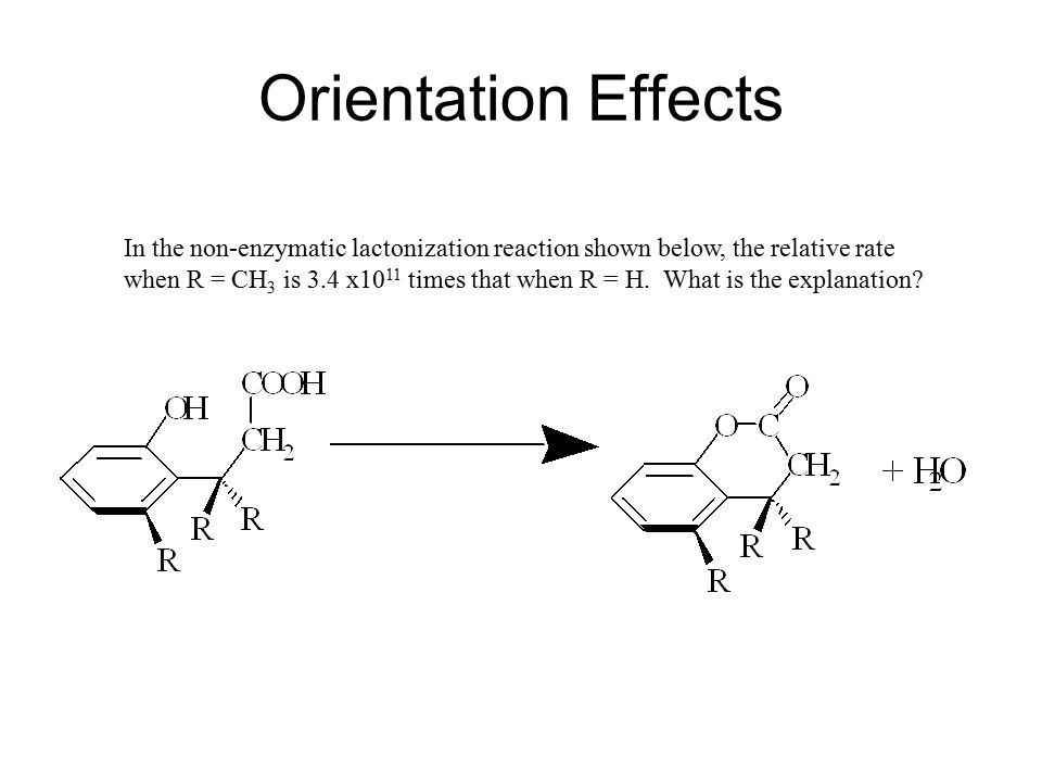 Orientation Effects In the non-enzymatic lactonization reaction shown below, the relative rate.