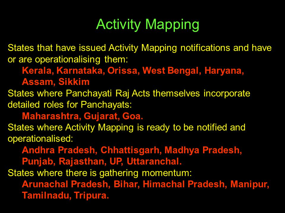 Activity Mapping States that have issued Activity Mapping notifications and have or are operationalising them: