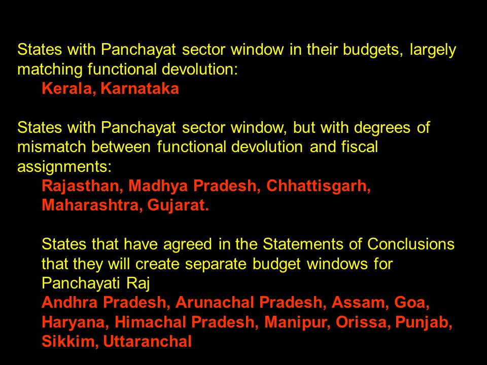 States with Panchayat sector window in their budgets, largely matching functional devolution: