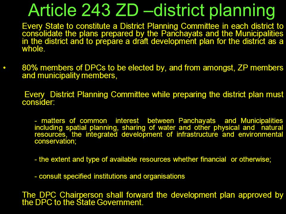 Article 243 ZD –district planning
