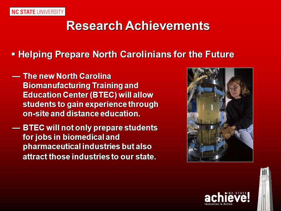 Research Achievements Helping Prepare North Carolinians for the Future