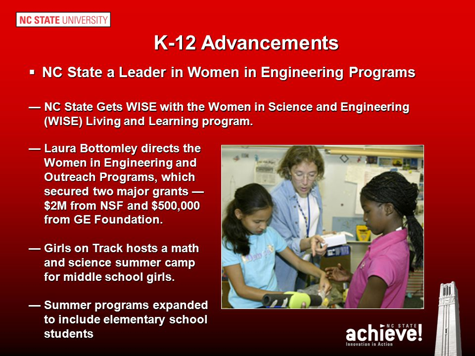 K-12 Advancements NC State a Leader in Women in Engineering Programs