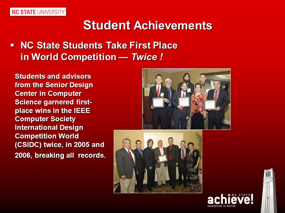 Student Achievements NC State Students Take First Place in World Competition — Twice !