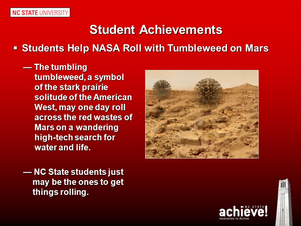 Student Achievements Students Help NASA Roll with Tumbleweed on Mars