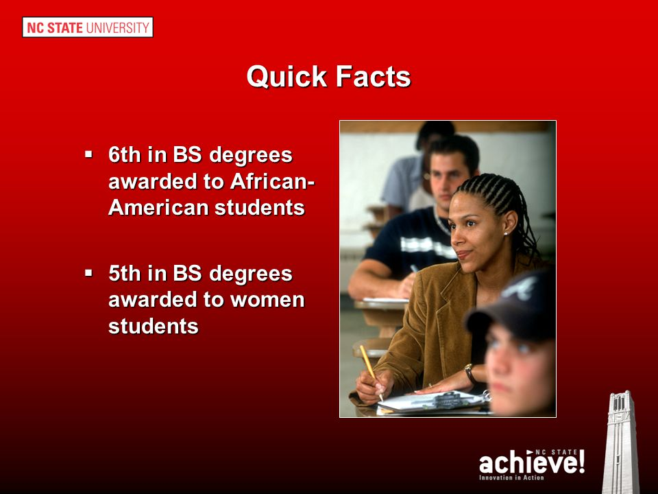 Quick Facts 6th in BS degrees awarded to African-American students