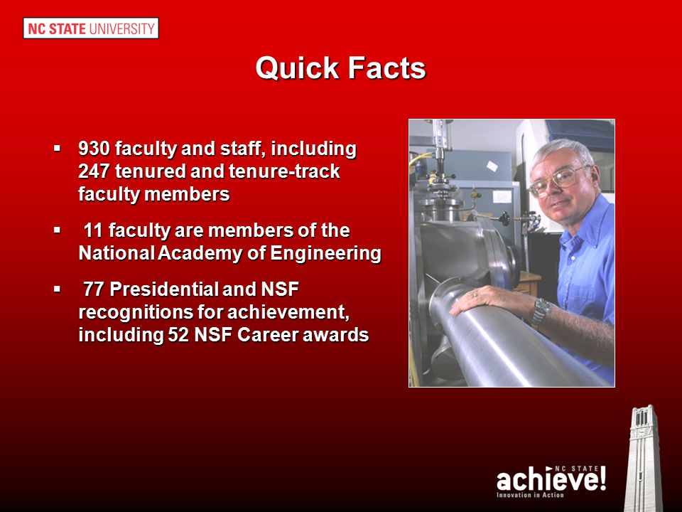 Quick Facts 930 faculty and staff, including 247 tenured and tenure-track faculty members.