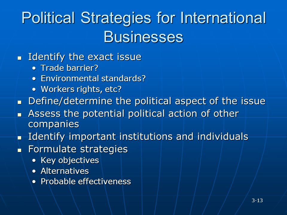 Political Strategies for International Businesses