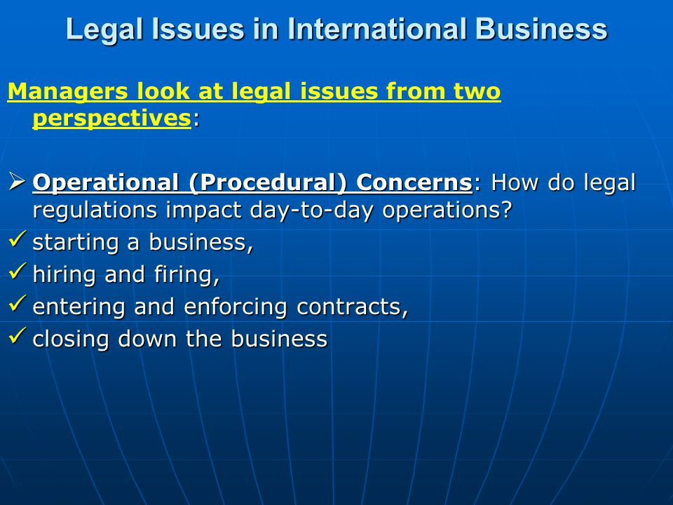 Legal Issues in International Business