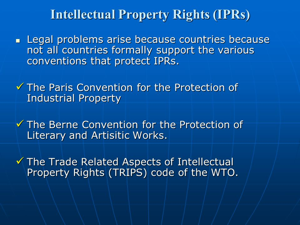 Intellectual Property Rights (IPRs)