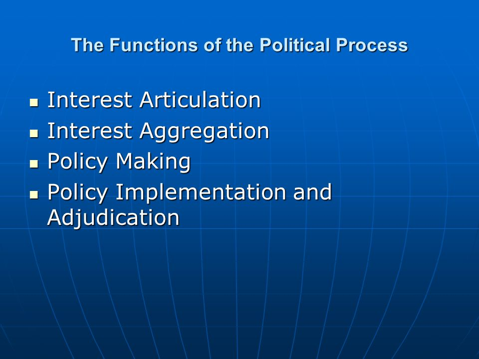The Functions of the Political Process