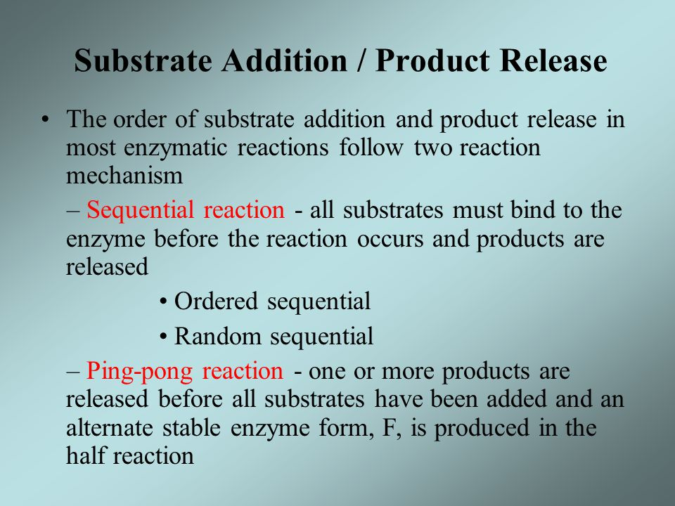 Substrate Addition / Product Release