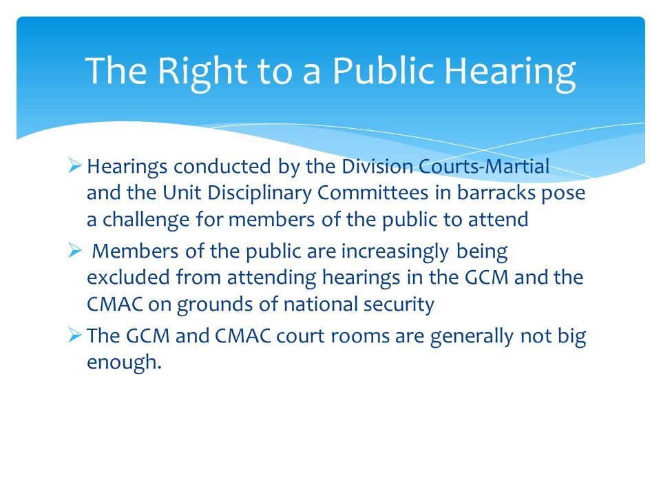 The Right to a Public Hearing