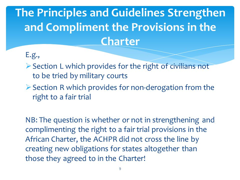 The Principles and Guidelines Strengthen and Compliment the Provisions in the Charter