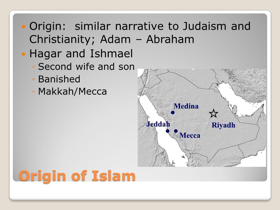 Origin: similar narrative to Judaism and Christianity; Adam – Abraham