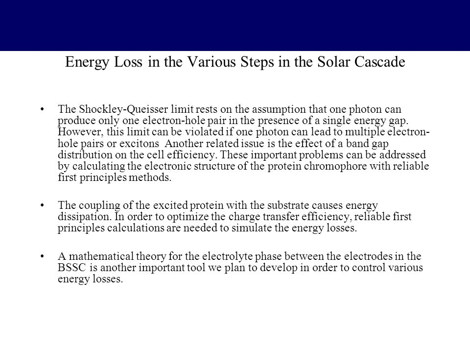 Energy Loss in the Various Steps in the Solar Cascade