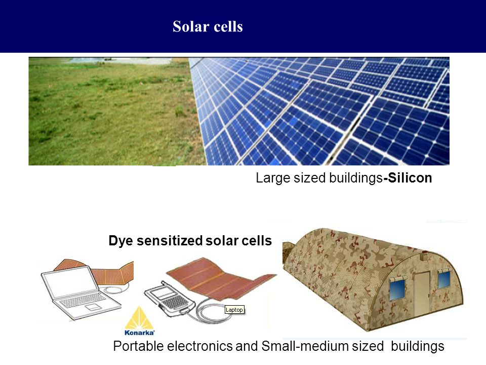 Solar cells Large sized buildings-Silicon Dye sensitized solar cells