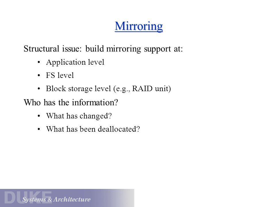 Mirroring Structural issue: build mirroring support at: