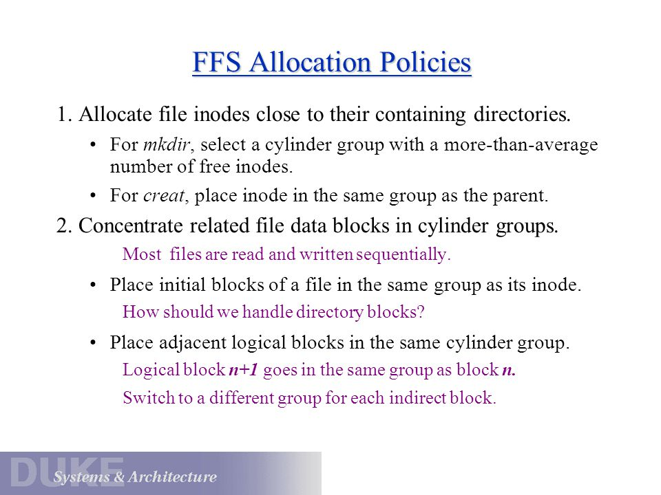 FFS Allocation Policies