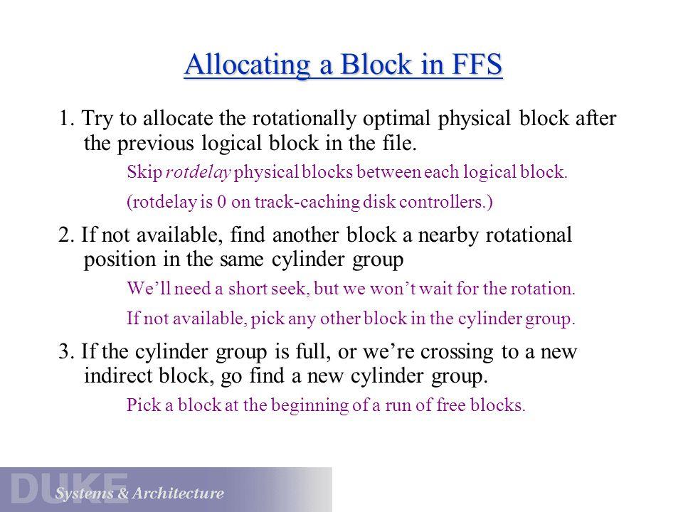 Allocating a Block in FFS