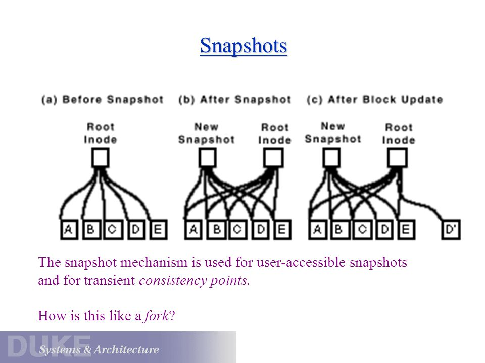 Snapshots The snapshot mechanism is used for user-accessible snapshots and for transient consistency points.