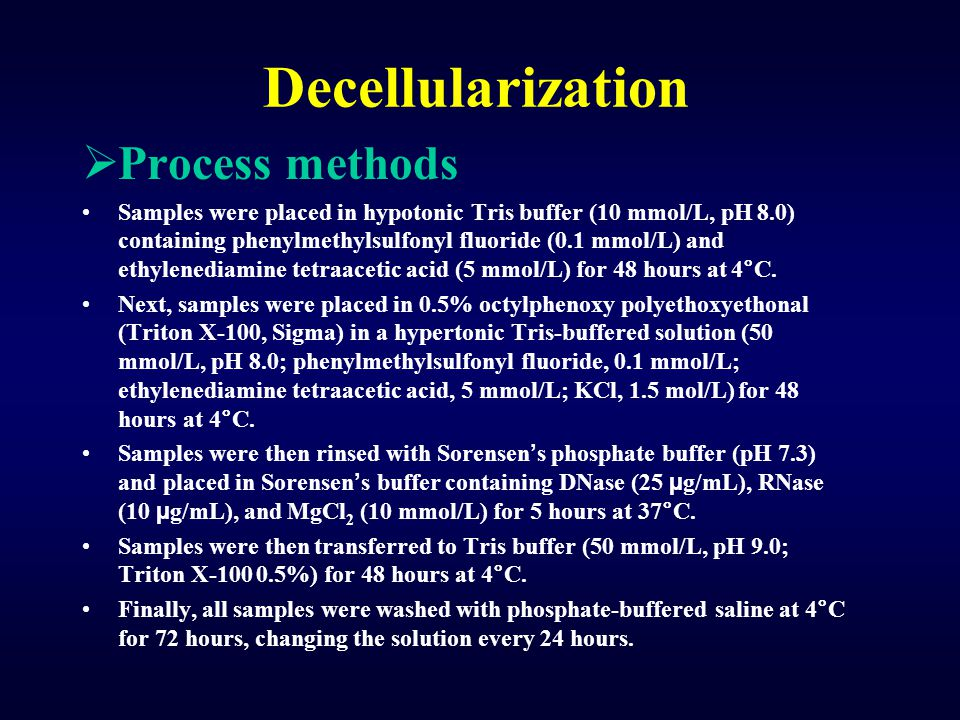 Decellularization Process methods