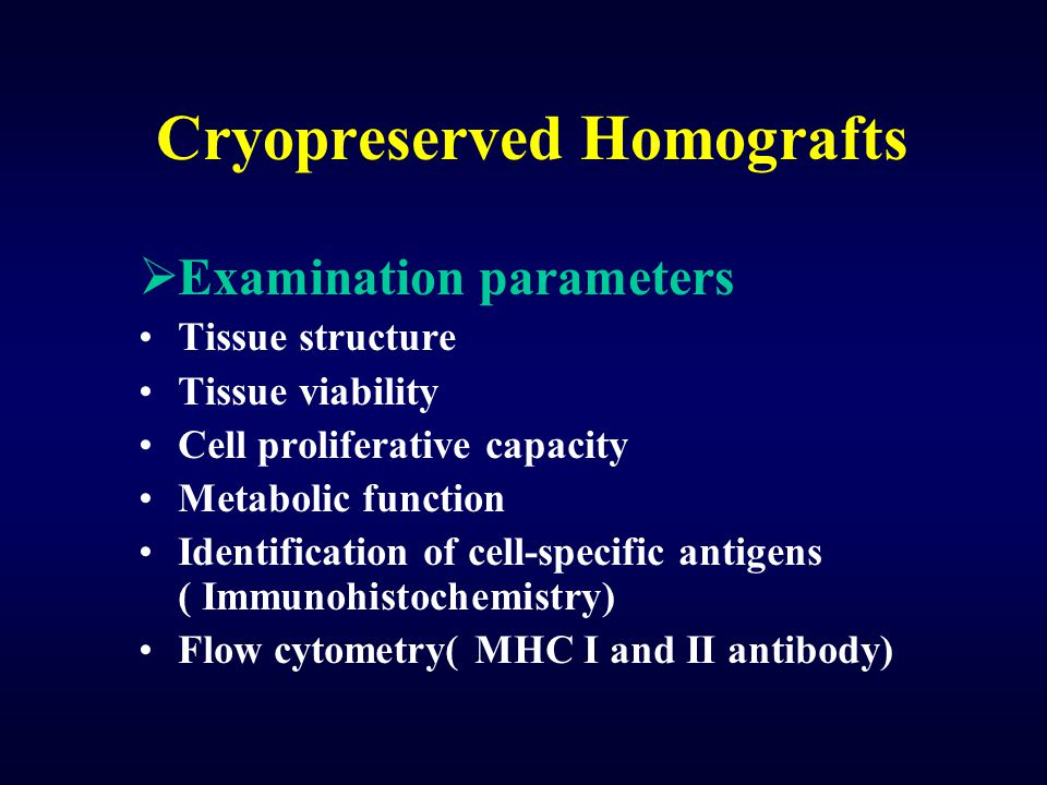 Cryopreserved Homografts