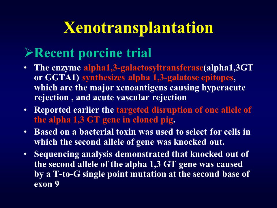 Xenotransplantation Recent porcine trial