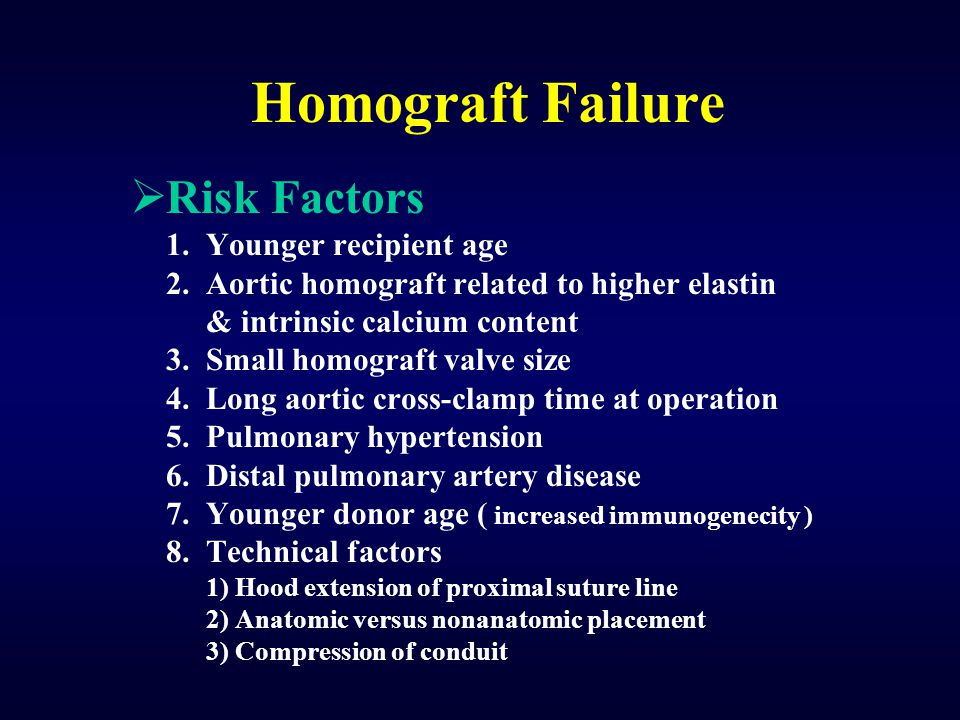 Homograft Failure Risk Factors 1. Younger recipient age