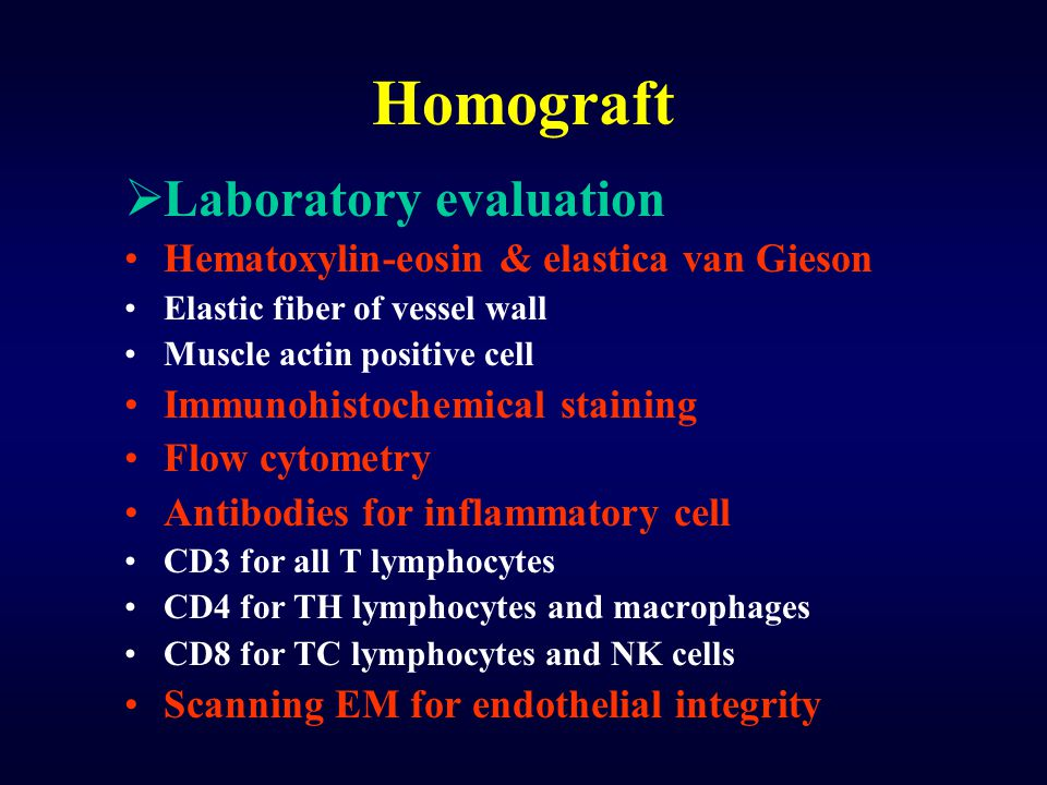 Homograft Laboratory evaluation