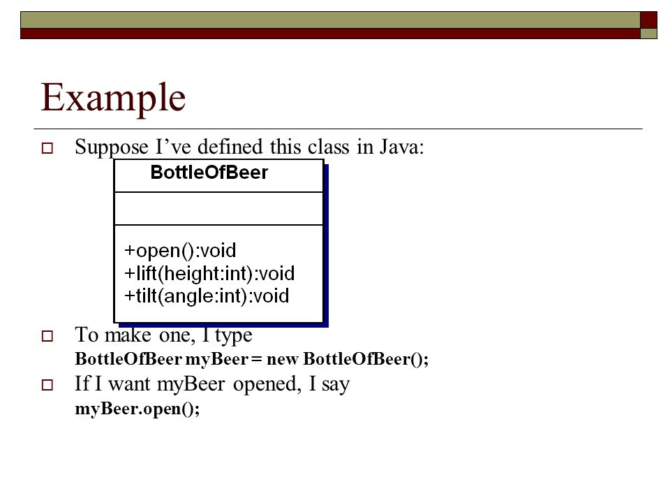 Example Suppose I've defined this class in Java: To make one, I type