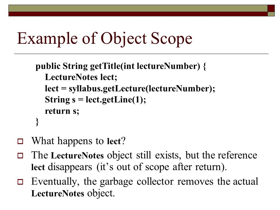 Example of Object Scope