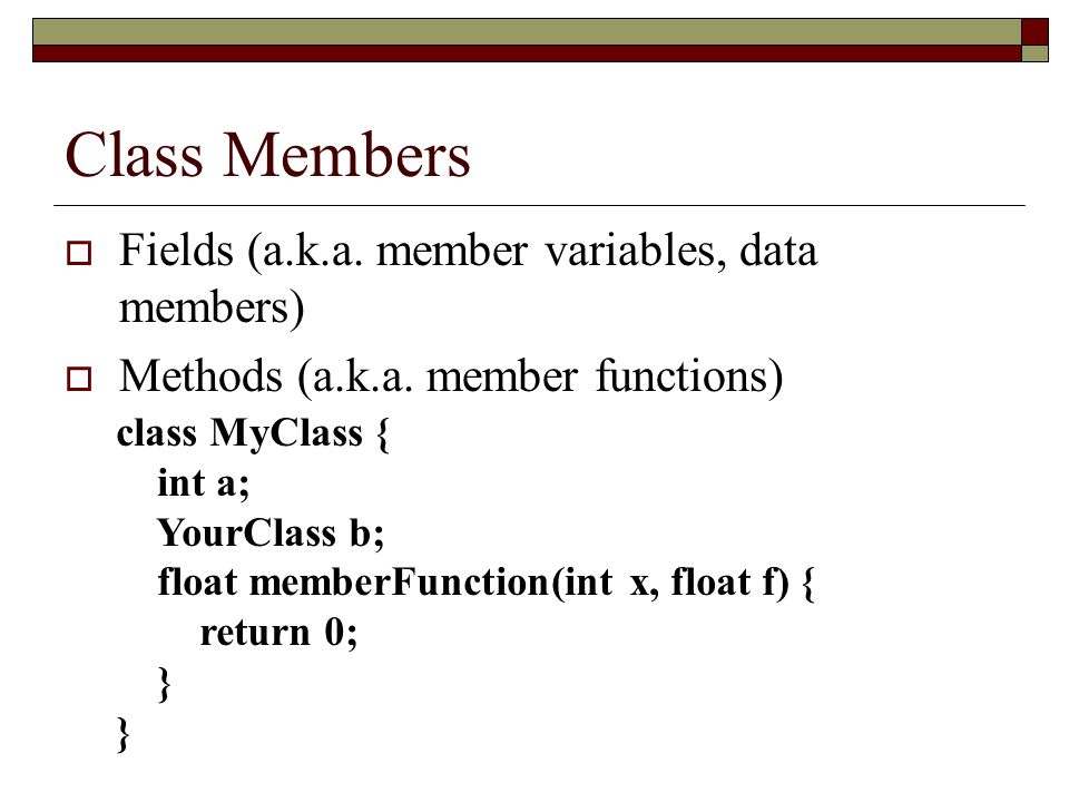 Class Members Fields (a.k.a. member variables, data members)