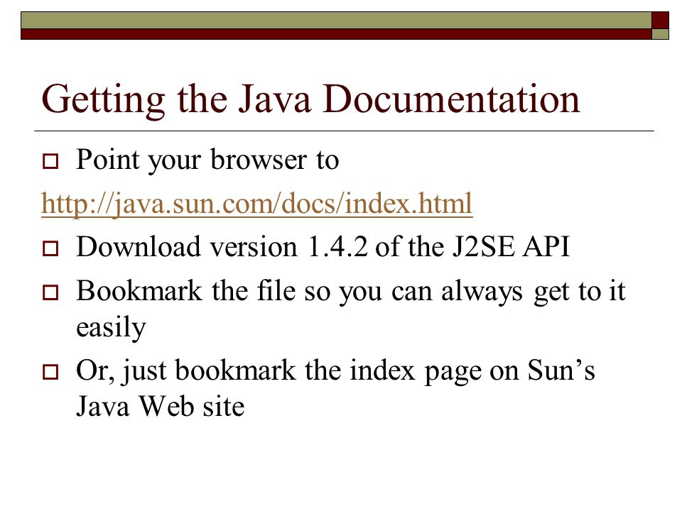 Getting the Java Documentation