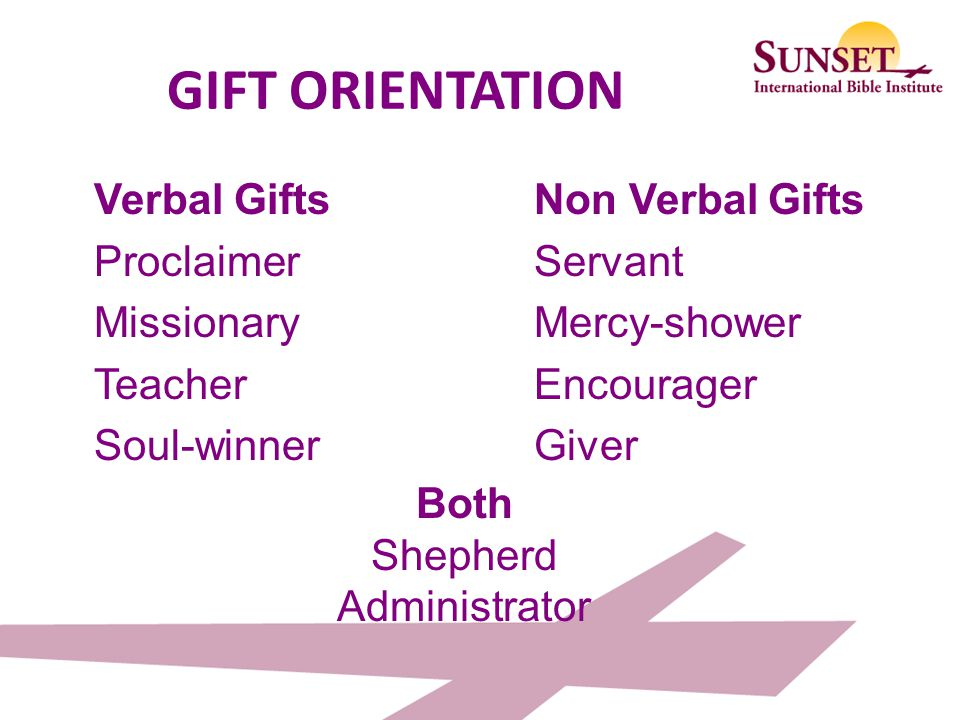 GIFT ORIENTATION Verbal Gifts Proclaimer Missionary Teacher Soul-winner Non Verbal Gifts Servant Mercy-shower Encourager Giver
