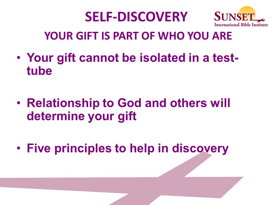 SELF-DISCOVERY YOUR GIFT IS PART OF WHO YOU ARE