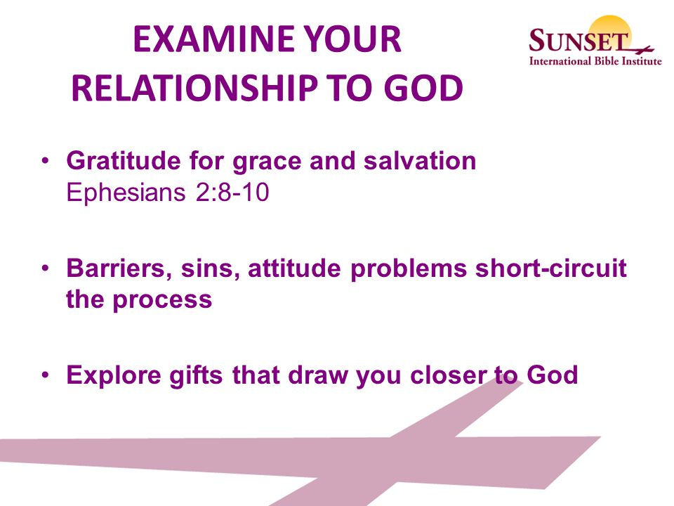 EXAMINE YOUR RELATIONSHIP TO GOD