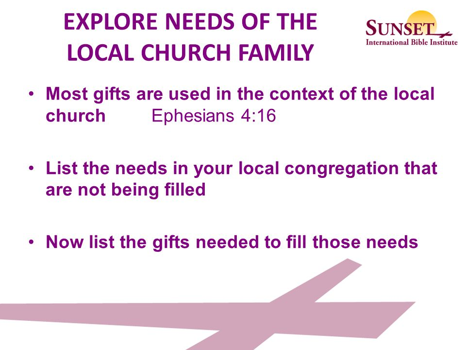 EXPLORE NEEDS OF THE LOCAL CHURCH FAMILY
