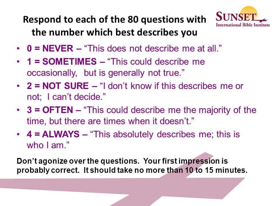 Respond to each of the 80 questions with the number which best describes you