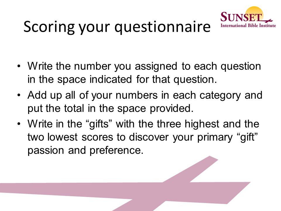 Scoring your questionnaire