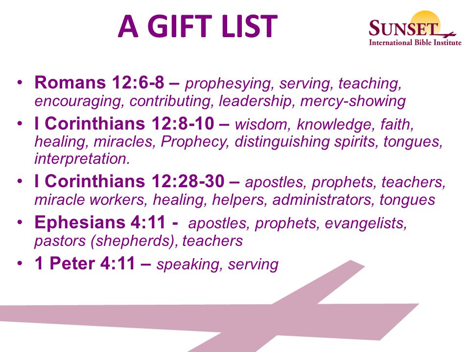 Spiritual gifts seminar ppt download a gift list romans 126 8 prophesying serving teaching negle Image collections