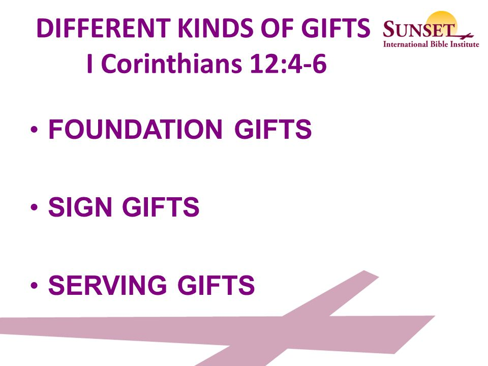 DIFFERENT KINDS OF GIFTS I Corinthians 12:4-6