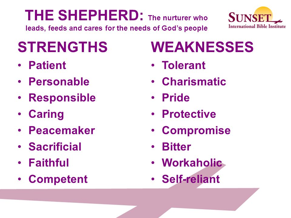 THE SHEPHERD: The nurturer who leads, feeds and cares for the needs of God's people