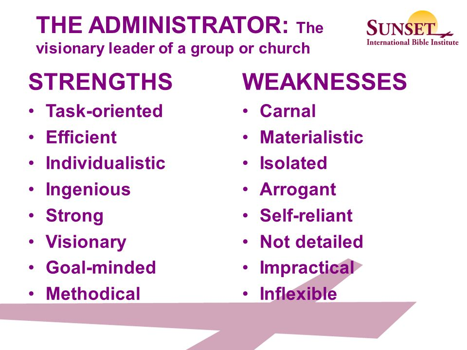 THE ADMINISTRATOR: The visionary leader of a group or church
