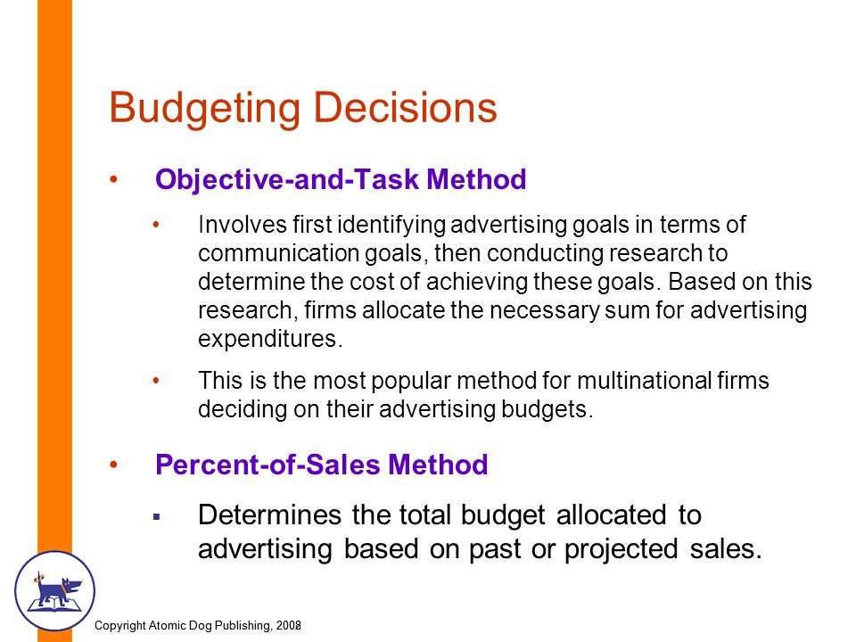 Budgeting Decisions Objective-and-Task Method Percent-of-Sales Method
