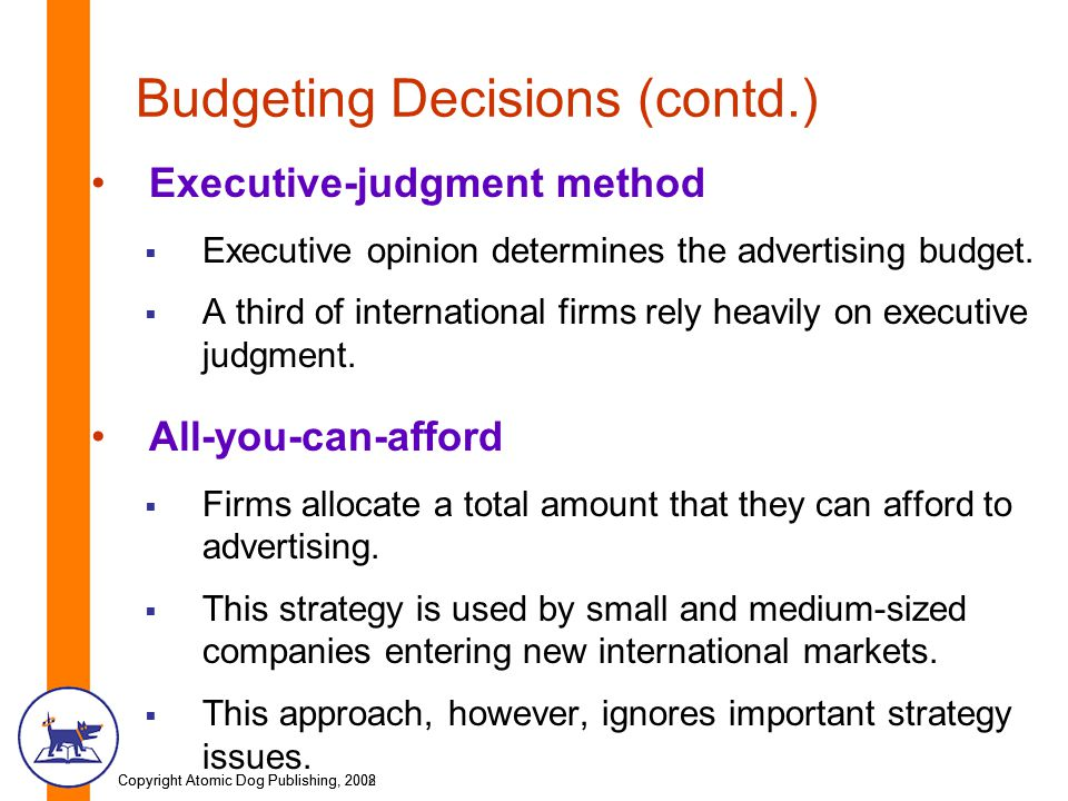 Budgeting Decisions (contd.)
