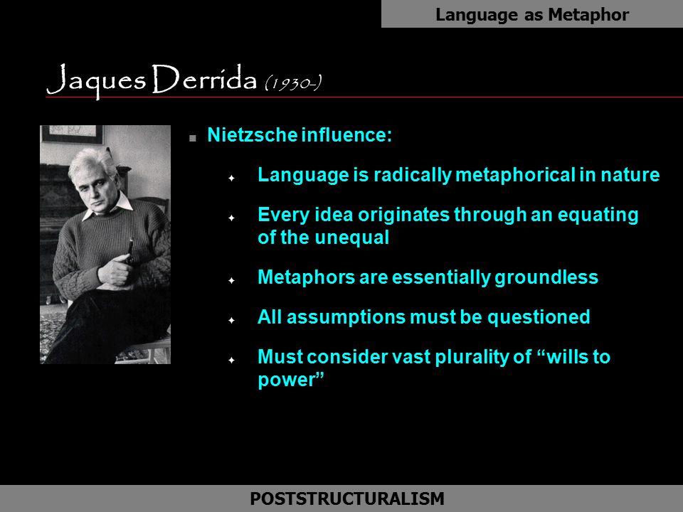 Jaques Derrida (1930-) Nietzsche influence: