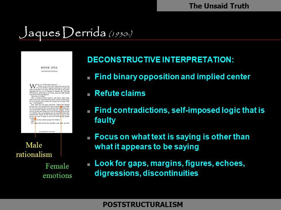 Jaques Derrida (1930-) as DECONSTRUCTIVE INTERPRETATION: