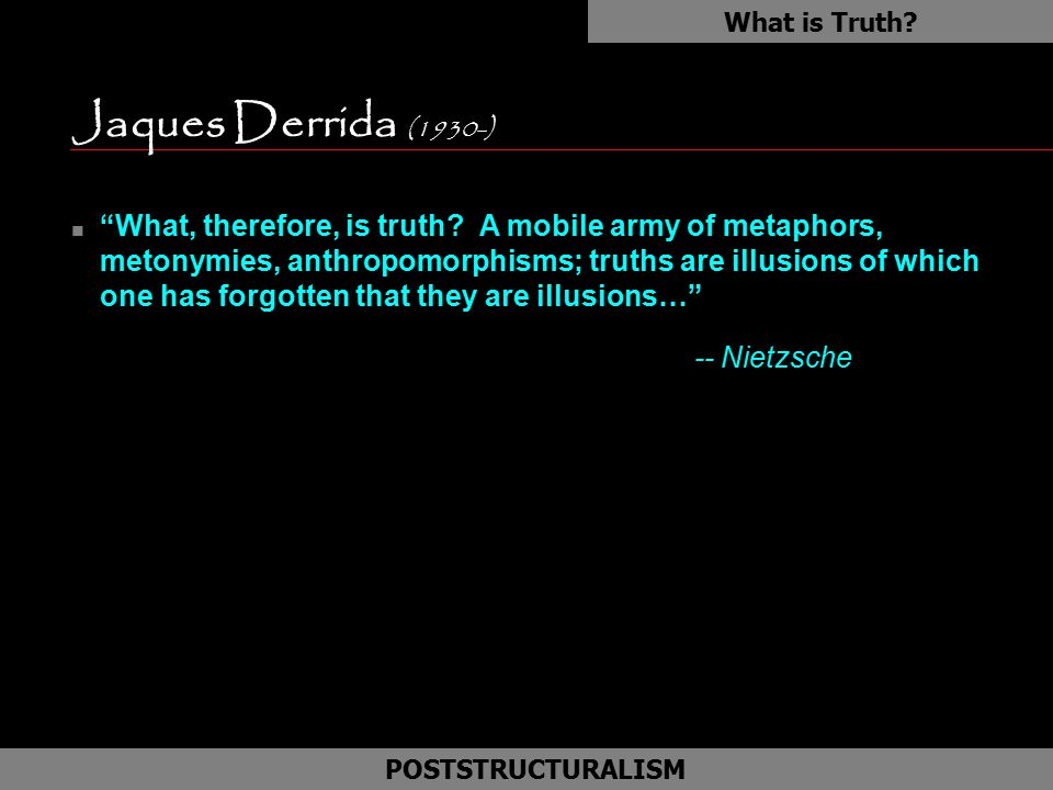 What is Truth Jaques Derrida (1930-)