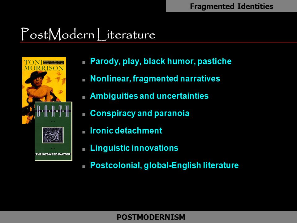 """postmodern identity essay Cultural identity and postmodern writing seeks to ascertain the relationship obtaining between the specific form postmodernism assumes in a given culture, and the national narrative in which that culture traditionally recognizes itself theo d'haen provides a general introduction to the issue of """"cultural identity and."""