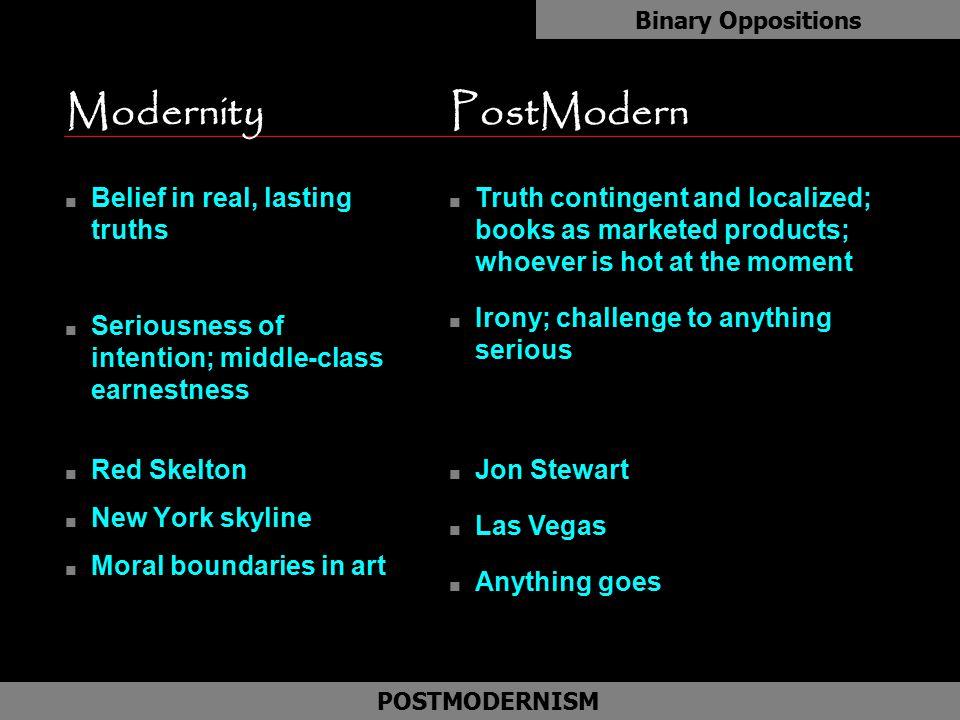 Modernity PostModern Belief in real, lasting truths